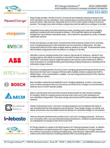 2020 EV Charge Solutions EVSE Line Sheet