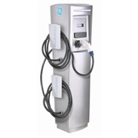 This is a photo of a 30 amp GE Durastation EVDDR3GWXXGB Dual Networked Car Charging Station