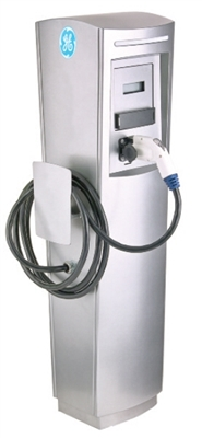 This is a photo of a 30 amp GE Durastation EVDPR3GWXXGB Single Networked Car Charging Station