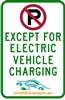 "This is a photo of a 12"" x 18"" Stainless Steel (.7mm) EV Parking Sign"